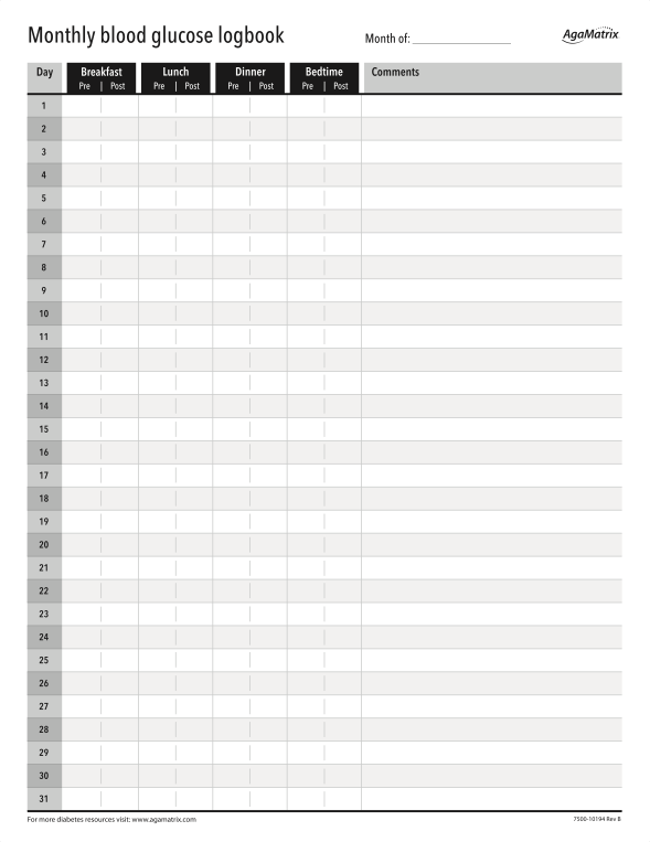 easy-to-use blood sugar log sheets